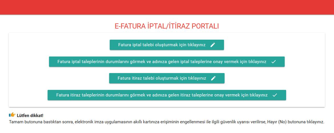 Gelir İdaresi Başkanlığı E-fatura iptal portalı